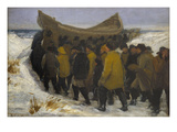 Launching the Fishing Boat Premium Giclee Print by Michael Peter Ancher