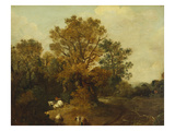 A Wooded Landscape with Faggot Gatherers by a Path, a White Horse Tethered Beyond Poster by Thomas Gainsborough