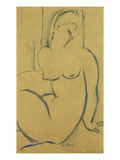 Seated Woman; Femme Assise Premium Giclee Print by Amedeo Modigliani