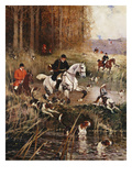 Scene De Chasse a Cour Giclee Print by Rene Princeteau