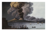 A View of the Bay of Naples with Mount Vesuvius Erupting in Daytime Giclée-tryk af Italian School
