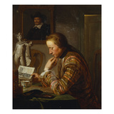 A Gentleman Seated at a Table Reading by Candlelight Giclee Print by Cornelius Troost (Circle of)