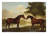 Two Hunters by a Lake Art by George Stubbs