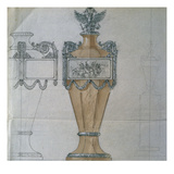 A Design for a Silver Mounted Shaped Hardstone Commemorative Urn Posters