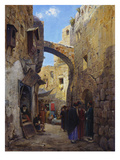 Streetscene in Jerusalem; Strassenscene in Jerusalem Giclee Print by Gustav Bauernfeind