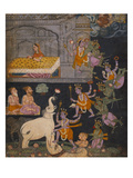 Illustration to a Gajendra Moksha Series Depicting Vishnu Rescuing the Elephant King Posters