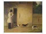 A Beagler Standing at the Door of the Kennels Calling Out the Beagles Giclee Print by William J. Pringle