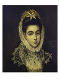 Portrait of a Young Lady, Bust Length, Wearing a Black Dress with a White Lace Collar and… Prints by  El Greco