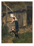 A Peasant Girl and Child by a Well in a Farmyard Prints by August Allebe