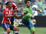 Seattle August 13 - Fredy Montero and Michael Umana Photographic Print by Otto Greule Jr