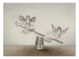 Two Fairies Playing See-Saw on a Needle Resting on a Thimble Print by Amelia Jane Murray