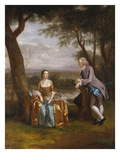A Group Portrait Traditionally Thought to Be of Daniel and Mary Swaine of Leverington Hall, Isle… Giclee Print by Arthur Devis