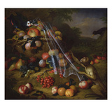 Mixed Fruit with a Monkey, a Parrot, a Jay and Two Finches in Landscapes Giclee Print by Tobias Stranover
