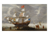 A Three-Master Setting Out from an Estuary with Elegant Riders Waving Goodb Prints by Cornelis Verbeeck