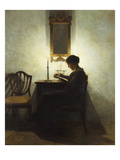 A Woman Reading by Candlelight in an Interior Giclee Print by Peter Ilsted