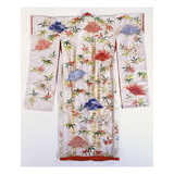 A Furisode of Ivory Damask, Embroidered and Tie-Dyed with Bamboos and Fans Posters