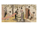 A Triptych of Girls Washing and Stretching Cloth under the Trees Print by Utagawa Toyokuni