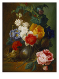 Roses, Poppies, Morning Glory and Other Flowers in a Vase with a Bird's Nest on a Ledge Posters by Jan van Os