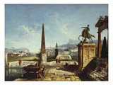 A Capriccio of Classical Monuments and an Obelisk with Soldiers by a Pool, Mountains Beyond Prints by Michele Marieschi