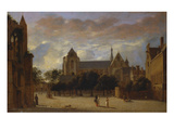 A View of the Groote Kerk at Veere from the South with Figures in the Foreg Giclee Print by Jan Van Der Heyden