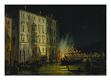 View of Venice with Fireworks; Vue De Venise Sous Un Feu D'Artifice Poster by Carlo Grubacs