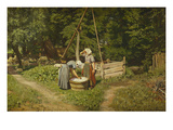 Girls at a Well Art by Viggo Pedersen