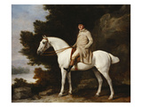 A Gentleman on a Grey Horse in a Rocky Wooded Landscape Premium Giclee Print by George Stubbs