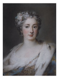 Portrait of a Lady, Bust Length in an Ermine-Trimmed Robe with Fleur-De-Lys, Diamond Clasp and… Posters af Rosalba Giovanna Carriera