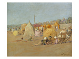 Afternoon on the Beach at Carolles; L'Apres-Midi Sur La Plage De Carolles Giclee Print by Georges Hoffman