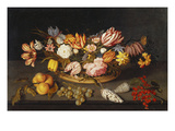 Tulips, Roses, an Iris, Fritillary and Other Flowers in a Basket, with Shells, a Bunch of Grapes… Print by Johannes Bosschaert