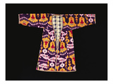 A Quilted Coat (Chapan) of Silk Ikat, Woven with Ramshorn Motifs Against an Aubergine Ground Art