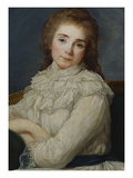 Portrait of a Lady Wearing a White Dress Tied with a Blue Sash on a Sofa Prints by Angelica Kauffmann