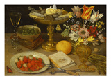 A Still Life with Strawberries on a Silver Plate, a Tazza with Sweetmeats, a Silver Gilt Bowl of… Giclee Print by Georg Flegel