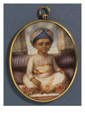A Portrait Miniature of the Sahibzada, Eldest Son of the Nawab of Oudh, Wearing a Blue Nawabi… Giclee Print by Ozias Humphry
