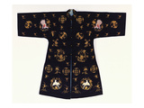 An Informal Robe of Midnight Blue Satin, Embroidered in Couched Gilt Thread with Bats, Shou… Posters