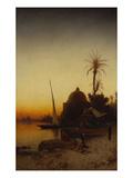 Arabs at Prayer by the Nile Giclée-tryk af Hermann Corrodi