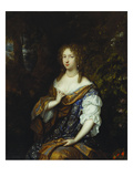 Portrait of Sara Nuyts (1645-1723), (Wife of Lambert Witsen), in an Orange, Blue and White Dress Prints by Caspar Netscher