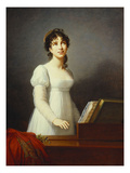 Portrait of Angelica Catalani, Three-Quarter Length, Wearing a White Dress, Singing at a Pianoforte Print by Elisabeth Louise Vigee-LeBrun