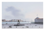 A View of St. Petersburg; Decemberist Square with an Equestrian Statue of Peter the Great Premium Giclee Print by  Leperate