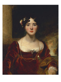 Portrait of Mrs. John Allnutt, Seated Half-Length in a Crimson Velvet Dress, Brown Shawl and Gold… Art by Thomas Lawrence