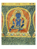 Detail of the Akshobhya Buddha, from a Rare and Imperial Embroidered Silk Thanka Prints