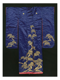 A Wedding Furisode of Midnight Blue Satin, Embroidered with Pine Trees in Couched Gilt Threads,… Giclee Print