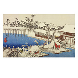 Snow at the Field of the Kameido Tenman Shrine Giclee Print by Ando Hiroshige