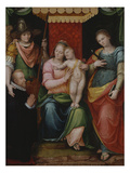 The Madonna and Child Enthroned with Saint Apollonia and Saint Michael Presenting a Kneeling Male… Giclee Print by Guglielmo Caccia