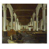 The Interior of a Protestant Church with Gravediggers Prints by Job Adriaensz Berckheyde