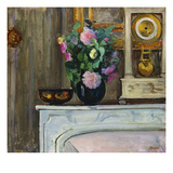 Bouquet of Flowers on the Fireplace; Bouquet De Fleurs Sur La Cheminee Prints by Henri Lebasque