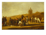 Fishermen Selling their Catch on a Beach Giclee Print by Pieter de Neyn