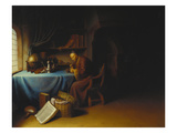 An Old Man Lighting His Pipe in a Study Giclee Print by Gerard Dou