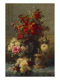 Roses, Anemones and Peonies, Strawberries, a Silver-Gilt Ostrich Egg Cup and a German Gold-Gilt… Giclee Print by Jean Baptiste Claude Robie