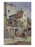 A Street Scene Giclee Print by Frans Wilhelm Odelmark